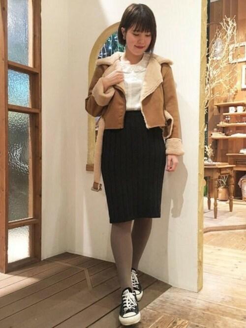 flowerさんの「warm rib knit skirt~ウォームリブニットスカート(flower)」を使ったコーディネート