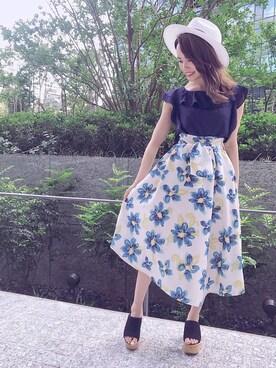 BURNEDESTROSE 本社|REDYAZELさんの「ウエストリボンマーガレットスカート(REDYAZEL)」を使ったコーディネート
