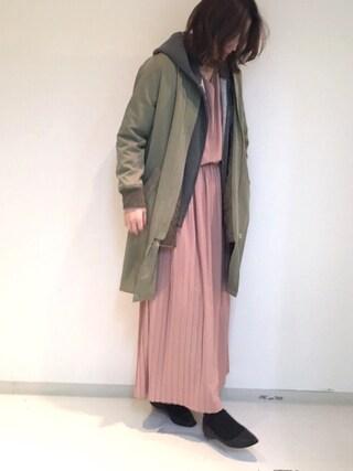BouJeloud|sakamoto shizukaさんの「中綿ロングMA-1(Bou Jeloud|ブージュルード)」を使ったコーディネート