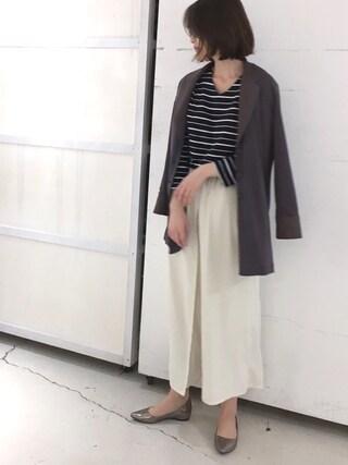 BouJeloud|sakamoto shizukaさんの「超長綿ドルマンボーダープルオーバー(Bou Jeloud|ブージュルード)」を使ったコーディネート