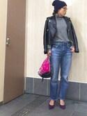 hanaさんの「レザーライダースジャケット(TODAYFUL エモダ)」を使ったコーディネート
