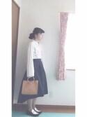 ゆめ子さんの「刺繍バックルシャツ(PAGEBOY ページボーイ)」を使ったコーディネート