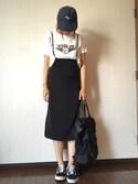 tanakaaa=さんの「KBF バッククロスハイウエストスカート(KBF|ケイビーエフ)」を使ったコーディネート