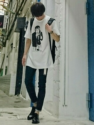 mokashioさんの「IMAGE CLUB LTD. By Keith Morris フォトプリント Tシャツ JEFERY LEE RIERCE / AMERICAN RAG CIE 限定発売 43836(AMERICAN RAG CIE|アメリカンラグ シー)」を使ったコーディネート
