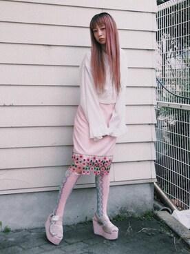 merry jenny 本社|二宮奈々さんの「お花ペンシルスカート(merry jenny|メリージェニー)」を使ったコーディネート