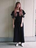 二宮奈々さんの「おはな刺繍ロングワンピース(merry jenny メリージェニー)」を使ったコーディネート