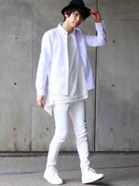 MONO-MART YUさんの「cotton100% オックスボタンダウンシャツ(MONO-MART)」を使ったコーディネート