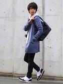 YUさんの「TRストレッチスーツ地ステンカラーコート(MONO-MART モノマート)」を使ったコーディネート