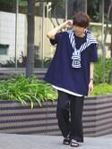 YUさんの「スーパーオーバーサイズ ドロップショルダー カットソー ビッグシルエット Tシャツ(MONO-MART|モノマート)」を使ったコーディネート
