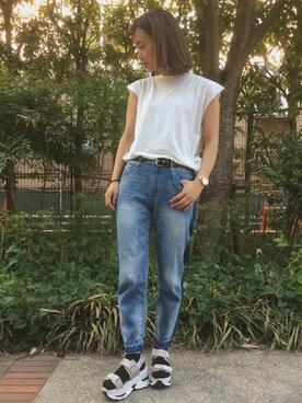 WEGO 新宿ミロード店|かほてぃさんのTシャツ/カットソー「DISPARK/BIGノースリーブTee(WEGO|ウィゴー)」を使ったコーディネート