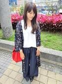 「【EDGE】デザインタックスリーブトップス(MURUA)」 using this Winnie Chang looks
