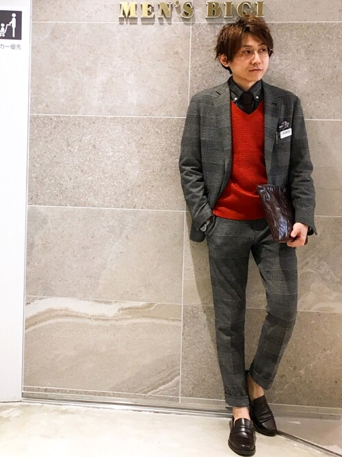 メンズビギ池袋パルコ店Euffyさんのテーラードジャケット「ビジネス&カジュアル兼用 ストレッチジャケット(セットアップ可能)(MEN'S BIGI|メンズビギ)」を使ったコーディネート