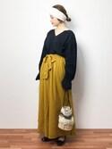 isaさんの「【WEB限定】TRボイル前リボンスカーチョ(Discoat Parisien WOMENS|ディスコートパリシアンウィメンズ)」を使ったコーディネート