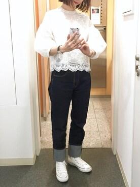 anieさんの「オーガンジー刺繍バルーントップス(PAGEBOY|ページボーイ)」を使ったコーディネート
