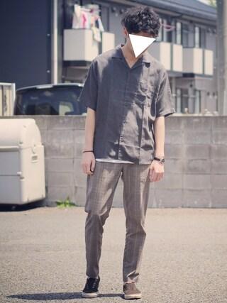 ryoさんの「フレンチリネンテンセルオープンシャツ半袖/741205(GLOBAL WORK|グローバルワーク)」を使ったコーディネート