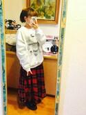 こにーさんの「BEAMS BOY / タータンチェック サーキュラースカート(BEAMS BOY|ビームスボーイ)」を使ったコーディネート
