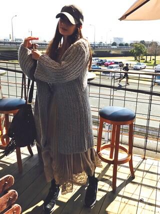 スザンヌさんの「手編みガウン(Omekashi|オメカシ)」を使ったコーディネート
