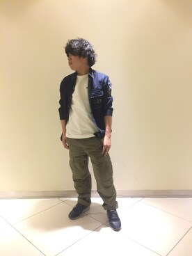 AVIREX  川崎|shinyaさんのシャツ/ブラウス「avirex/ アヴィレックス / タイプブルー七分袖 ステッチシャツ/ TYPE BLUE 3/4SL STICHING SHIRT(AVIREX|アヴィレックス)」を使ったコーディネート