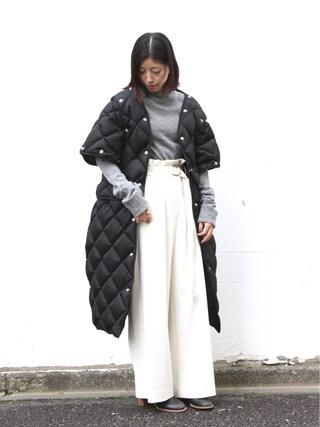 AMERICANRAGCIE(アメリカンラグシー)渋谷店|Riho Shimizuさんの「AMERICAN RAG CIE ハイウエストワイドパンツ(AMERICAN RAG CIE|アメリカンラグ シー)」を使ったコーディネート