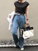 aikoさんの「フレンチTシャツ(DouDou)」を使ったコーディネート