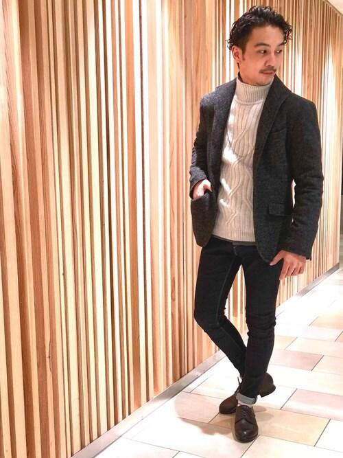 GOSTAR DE FUGA 名古屋PARCO店yu-shinogiさんのテーラードジャケット「ウール混 イタリアンスタンドカラー テーラードジャケット(GOSTAR DE FUGA|ゴスタール ジ フーガ)」を使ったコーディネート