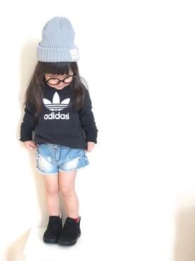 yuiさんの「【adicolor】オリジナルス パーカー[ADI TREFOIL HOODIE](adidas)」を使ったコーディネート
