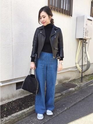 mizuhoさんの「■別注■beautiful people×MIDWEST ライダースジャケット(beautiful people|ビューティフルピープル)」を使ったコーディネート