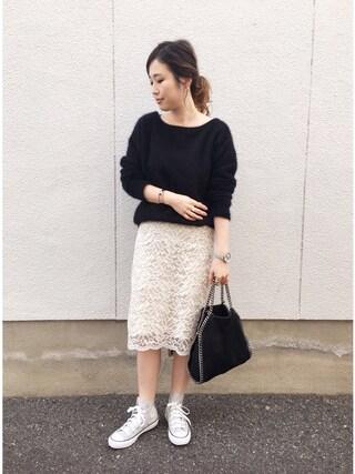 mizuhoさんの「《予約》コードレース スカート◆(IENA|イエナ)」を使ったコーディネート