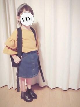 momii☆*さんの「【キッズ】デニムBOXスカート/737488(GLOBAL WORK|グローバルワーク)」を使ったコーディネート