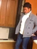 我妻 侑さんの「ROSSO 中綿入りメルトンショートピーコート(URBAN RESEARCH ROSSO MEN アーバンリサーチ ロッソメン)」を使ったコーディネート