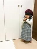 mana☆さんの「チェックジャンパースカート(apres les cours)」を使ったコーディネート