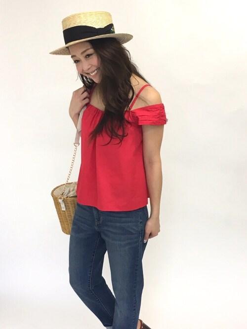 Haruka.さんの「花柄刺繍カンカン帽(31 Sons de mode)」を使ったコーディネート