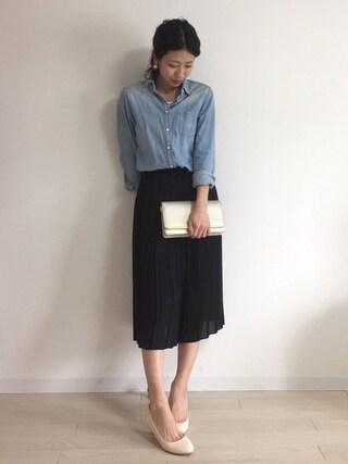 yui  さんの「WOMEN デニムシャツ(長袖)(ユニクロ|ユニクロ)」を使ったコーディネート
