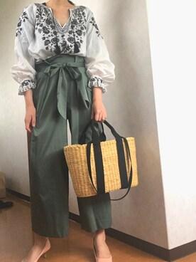 yuikaさんの「ライトサテン リボンパンツ◆(IENA|イエナ)」を使ったコーディネート