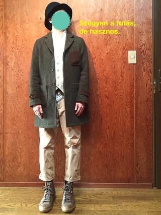 パスト代理人さんの「・HARRIS使いチェスターコート(SEVENDAYS=SUNDAY|セブンデイズサンデイ)」を使ったコーディネート