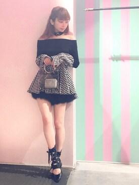 lilLilly TOKYO|マユさんの「オフショルレイヤードリブニット(lilLilly)」を使ったコーディネート