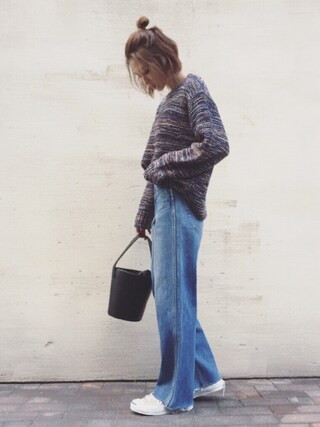 「COLOR MELANGE KNIT(MOUSSY)」 using this mana looks