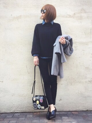「VOLUME SLEEVE COZY KNIT(MOUSSY)」 using this mana looks