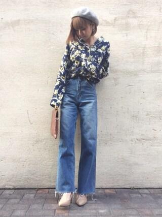 「FLOWER SATIN SHIRT(MOUSSY)」 using this mana looks