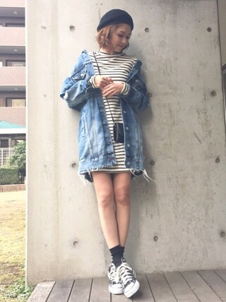 「BASIC MOHAIR BERET(MOUSSY)」 using this mana looks