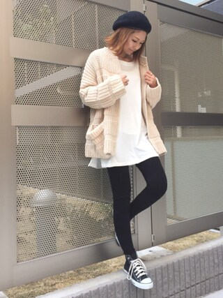 「Lowgauge knit cardigan(marjour)」 using this mana looks