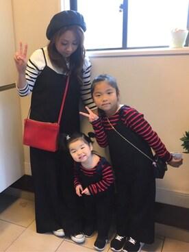 rinmeiさんの「肩リボン付き裾スカラップ長袖ボーダーTシャツ(petit main|プティマイン)」を使ったコーディネート