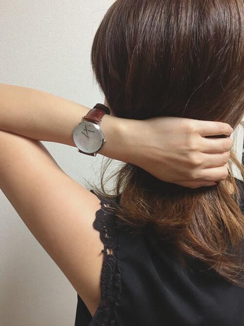 SiNCERE STORE!hitomiさんの腕時計「〈ALLY DENOVO/アリーデノヴォ〉Gaia Pearl/ガイアパール(ALLY DENOVO|アリーデノヴォ)」を使ったコーディネート