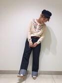 仲西 未来さんの「フラワー刺繍ニットカーディガン(ViS ビス)」を使ったコーディネート