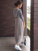 mayuさんの「刺繍巾着ショルダー(Discoat Parisien WOMENS|ディスコートパリシアンウィメンズ)」を使ったコーディネート