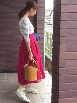 mayuさんの「NCタックロングスカート(Discoat Parisien WOMENS|ディスコートパリシアンウィメンズ)」を使ったコーディネート