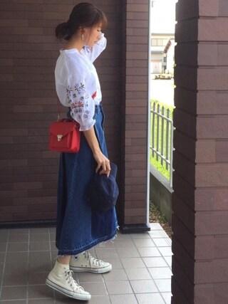 mayuさんの「60ローン袖刺繍スキッパーブラウス(Discoat Parisien|ディスコートパリシアン)」を使ったコーディネート