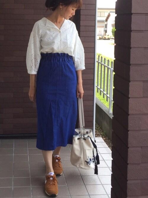 mayuさんの「刺繍開襟シャツ(Discoat Parisien WOMENS)」を使ったコーディネート