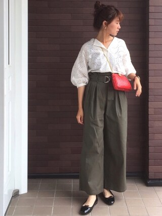 mayuさんの「刺繍開襟シャツ(Discoat Parisien WOMENS|ディスコートパリシアン)」を使ったコーディネート