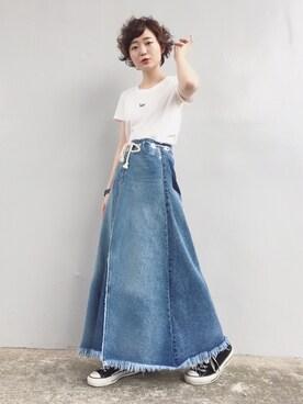 YUKIさんの「LeeスモールロゴTシャツ(Lee|リー)」を使ったコーディネート